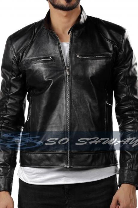 New Mens Genuine Sheepskin Black Leather Motorcycle Slim fit Jacket Bomber Biker Jacket