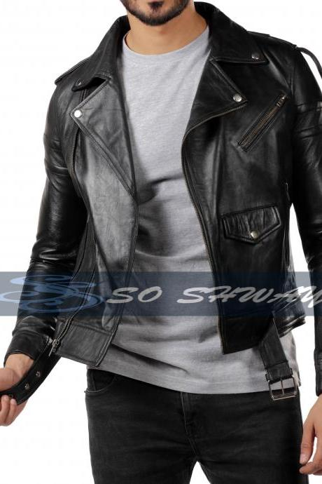 Mens Black Biker Motorcycle Vintage Genuine Sheepskin Leather Jacket